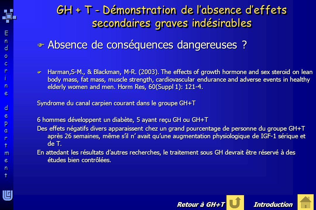 Endocrine departmentEndocrine department Endocrine departmentEndocrine department F Absence de conséquences dangereuses ? F Harman,S-M., & Blackman, M