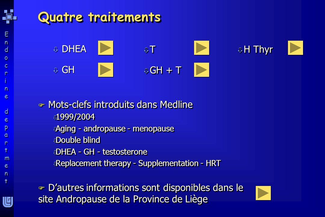 Endocrine departmentEndocrine department Endocrine departmentEndocrine department ò DHEA ò GH Quatre traitements F Mots-clefs introduits dans Medline