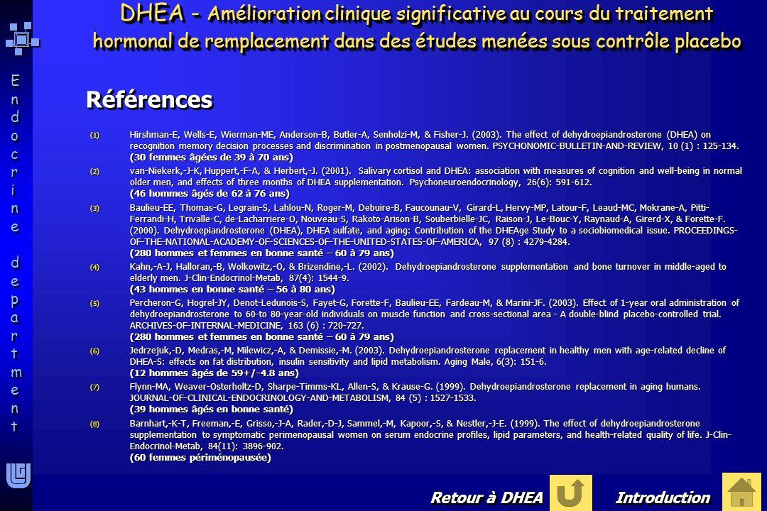 Endocrine departmentEndocrine department Endocrine departmentEndocrine department DHEA - Démonstration de labsence deffets secondaires graves indésirables F Absence de conséquences dangereuses Baulieu-EE, Thomas-G, Legrain-S, Lahlou-N, Roger-M, Debuire-B, Faucounau-V, Girard-L, Hervy-MP, Latour-F, Leaud-MC, Mokrane-A, Pitti-Ferrandi-H, Trivalle-C, de-Lacharriere-O, Nouveau-S, Rakoto-Arison-B, Souberbielle-JC, Raison-J, Le-Bouc Y, Raynaud-A, Girerd-X, & Forette-F (2000).