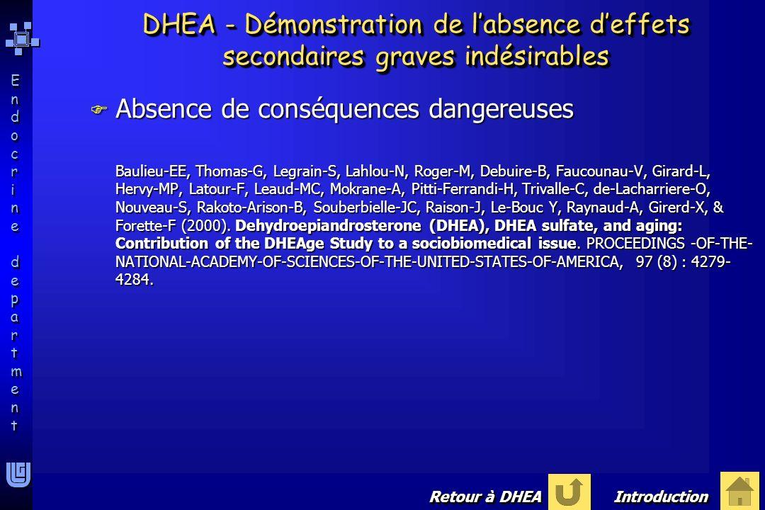 Endocrine departmentEndocrine department Endocrine departmentEndocrine department DHEA - Démonstration de labsence deffets secondaires graves indésira