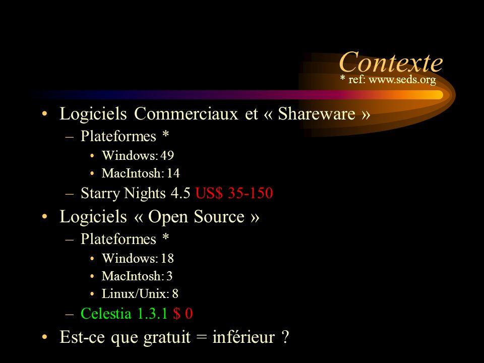 Contexte Logiciels Commerciaux et « Shareware » –Plateformes * Windows: 49 MacIntosh: 14 –Starry Nights 4.5 US$ 35-150 Logiciels « Open Source » –Plateformes * Windows: 18 MacIntosh: 3 Linux/Unix: 8 –Celestia 1.3.1 $ 0 Est-ce que gratuit = inférieur .
