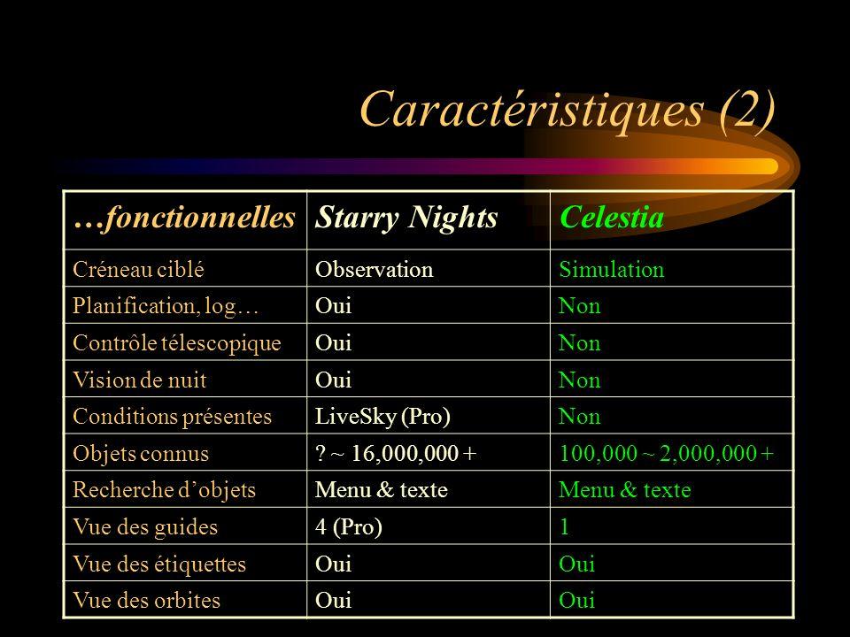 Caractéristiques (2) …fonctionnellesStarry NightsCelestia Créneau cibléObservationSimulation Planification, log…OuiNon Contrôle télescopiqueOuiNon Vision de nuitOuiNon Conditions présentesLiveSky (Pro)Non Objets connus.