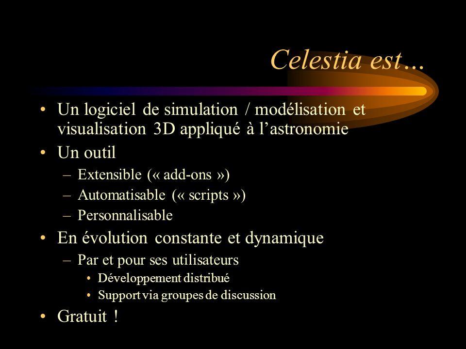 Celestia est… Un logiciel de simulation / modélisation et visualisation 3D appliqué à lastronomie Un outil –Extensible (« add-ons ») –Automatisable (« scripts ») –Personnalisable En évolution constante et dynamique –Par et pour ses utilisateurs Développement distribué Support via groupes de discussion Gratuit !