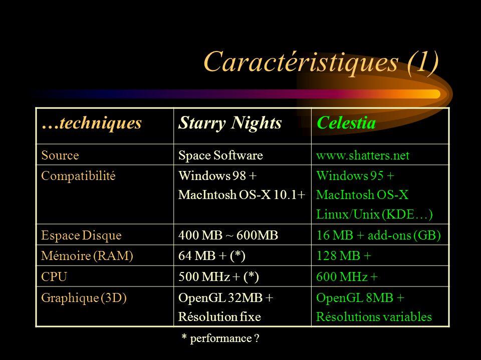 Caractéristiques (2) …fonctionnellesStarry NightsCelestia Créneau cibléObservationSimulation Conditions présentesLiveSky (Pro)Non Objets connus.