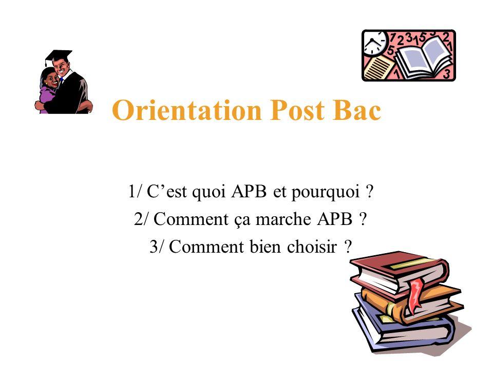 Orientation Post Bac 1/ Cest quoi APB et pourquoi ? 2/ Comment ça marche APB ? 3/ Comment bien choisir ?