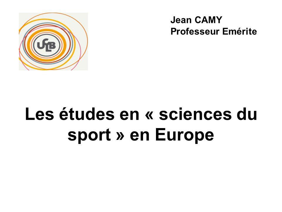 Les études en « sciences du sport » en Europe I- Les contextes politiques et socio- économiques nationaux II- Les systèmes de formation aux professions du sport et en relation avec le sport III-La place des universités dans la formation aux professions du sport et en relation avec le sport IV- Quelques repères sur linsertion des diplômés universitaires