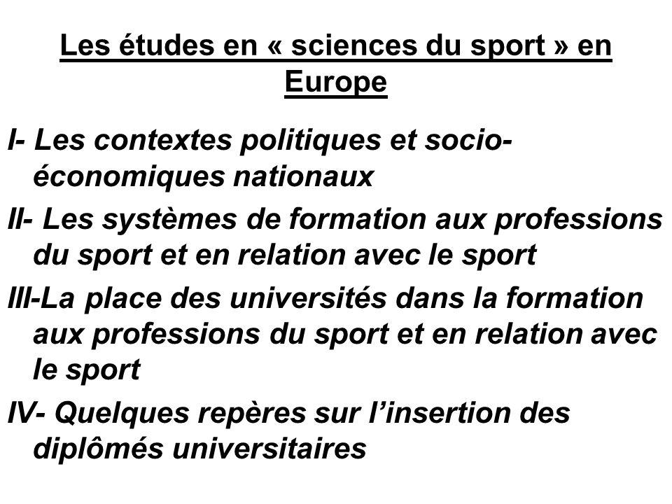 Les études en « sciences du sport » en Europe I- Les contextes politiques et socio- économiques nationaux II- Les systèmes de formation aux profession