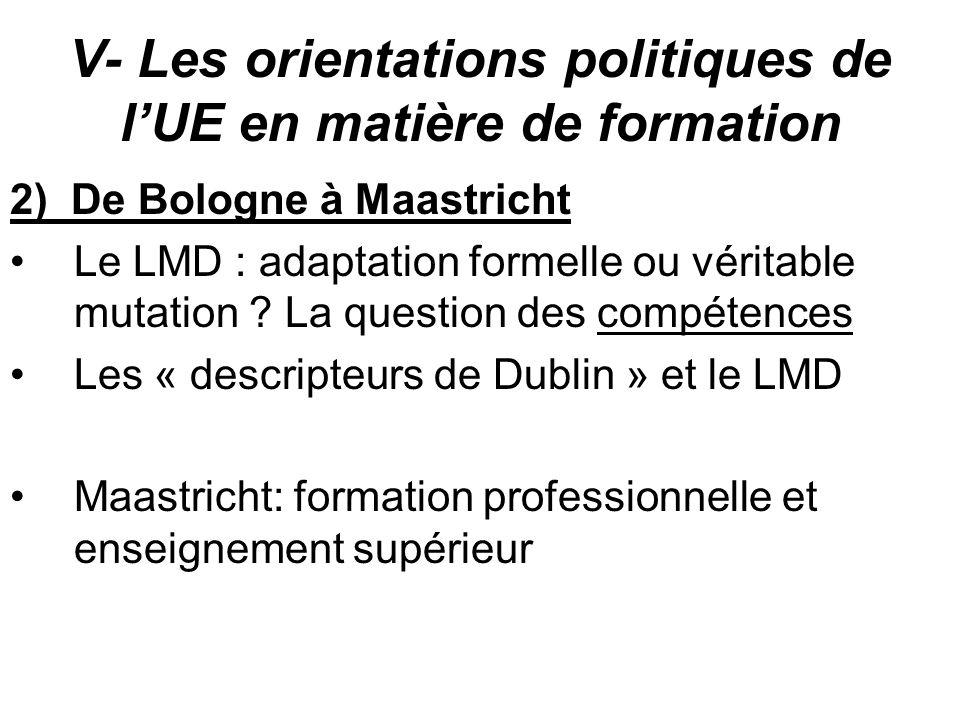 V- Les orientations politiques de lUE en matière de formation 2) De Bologne à Maastricht Le LMD : adaptation formelle ou véritable mutation ? La quest