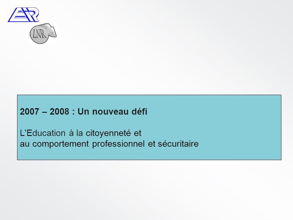 2007 – 2008 : Un nouveau défi L Education à la citoyenneté et au comportement professionnel et sécuritaire