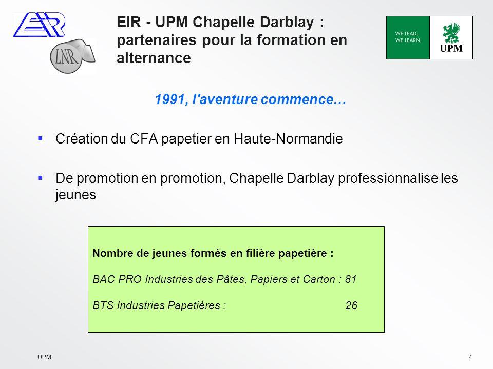 UPM5 EIR - UPM Chapelle Darblay : partenaires pour la formation en alternance 2002, l aventure se poursuit… Création au CFA de la section Maintenance Industrielle Chapelle Darblay soutient l initiative Nombre de jeunes formés en filière maintenance industrielle : BTS : 5