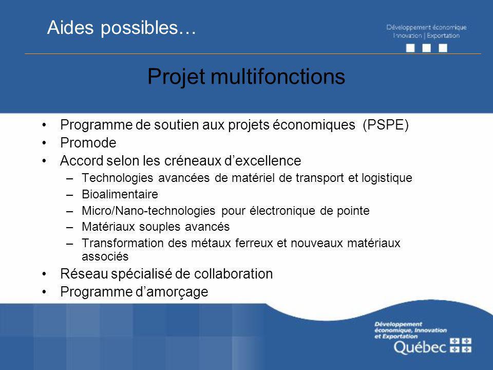Projet multifonctions Programme de soutien aux projets économiques (PSPE) Promode Accord selon les créneaux dexcellence –Technologies avancées de maté