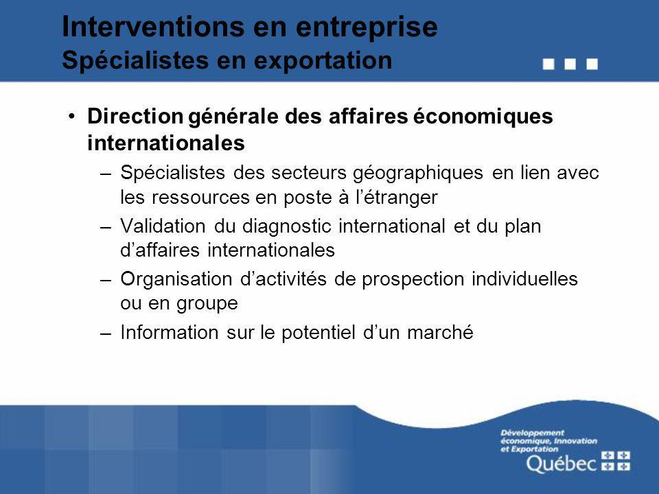 Interventions en entreprise Spécialistes en exportation Direction générale des affaires économiques internationales –Spécialistes des secteurs géograp