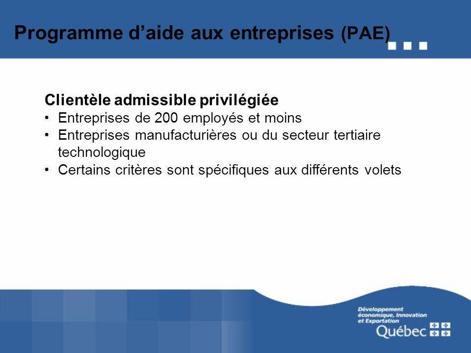 Programme daide aux entreprises (PAE) Clientèle admissible privilégiée Entreprises de 200 employés et moins Entreprises manufacturières ou du secteur tertiaire technologique Certains critères sont spécifiques aux différents volets
