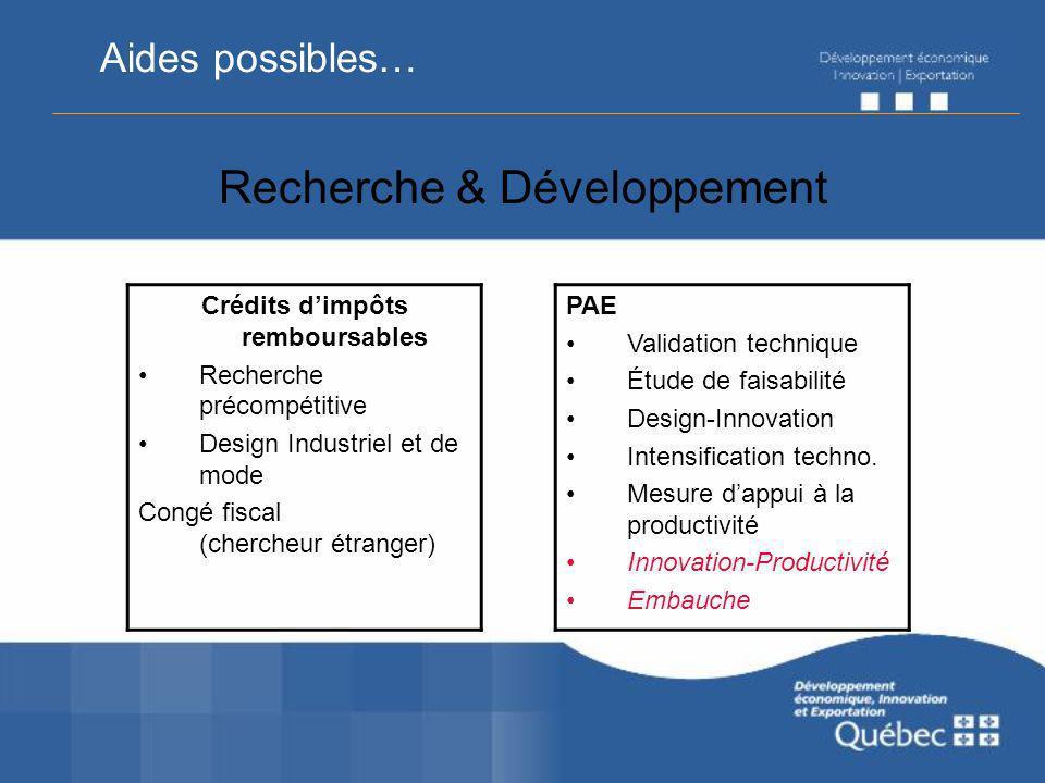 Recherche & Développement Crédits dimpôts remboursables Recherche précompétitive Design Industriel et de mode Congé fiscal (chercheur étranger) PAE Va
