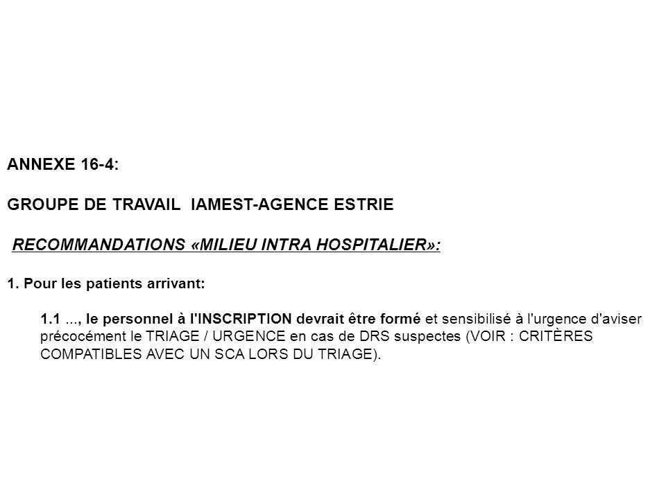 ANNEXE 16-4: GROUPE DE TRAVAIL IAMEST-AGENCE ESTRIE RECOMMANDATIONS «MILIEU INTRA HOSPITALIER»: 1. Pour les patients arrivant: 1.1..., le personnel à