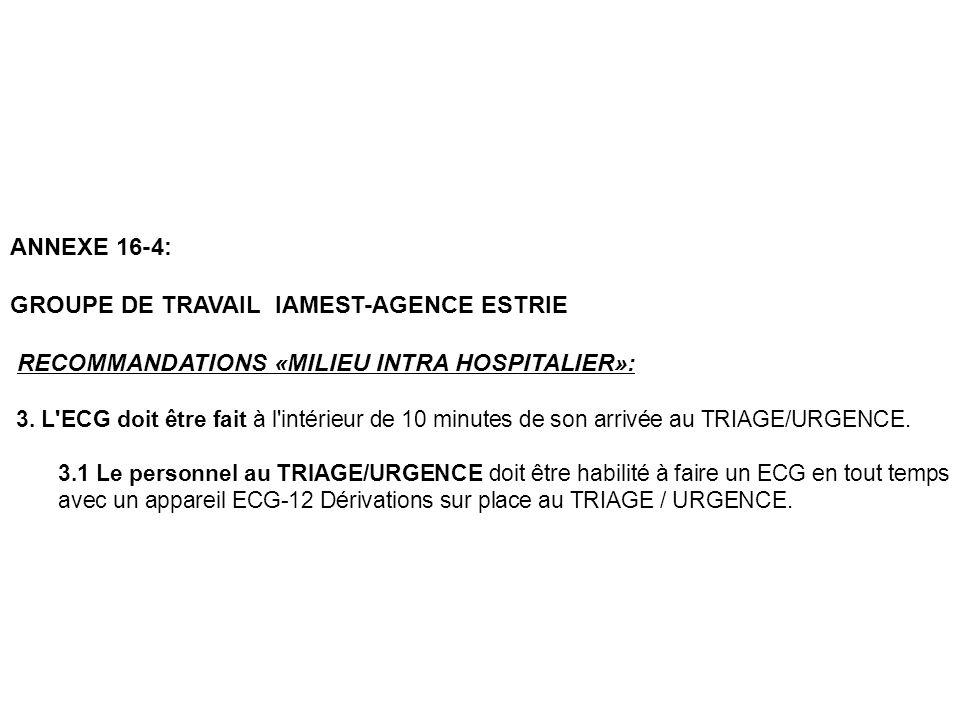 ANNEXE 16-4: GROUPE DE TRAVAIL IAMEST-AGENCE ESTRIE RECOMMANDATIONS «MILIEU INTRA HOSPITALIER»: 3. L'ECG doit être fait à l'intérieur de 10 minutes de