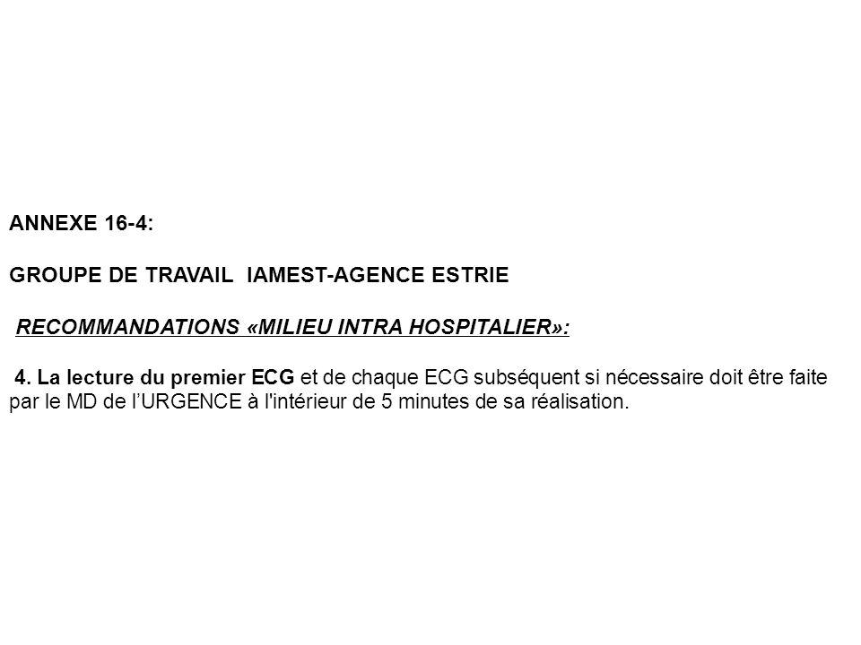 ANNEXE 16-4: GROUPE DE TRAVAIL IAMEST-AGENCE ESTRIE RECOMMANDATIONS «MILIEU INTRA HOSPITALIER»: 4. La lecture du premier ECG et de chaque ECG subséque