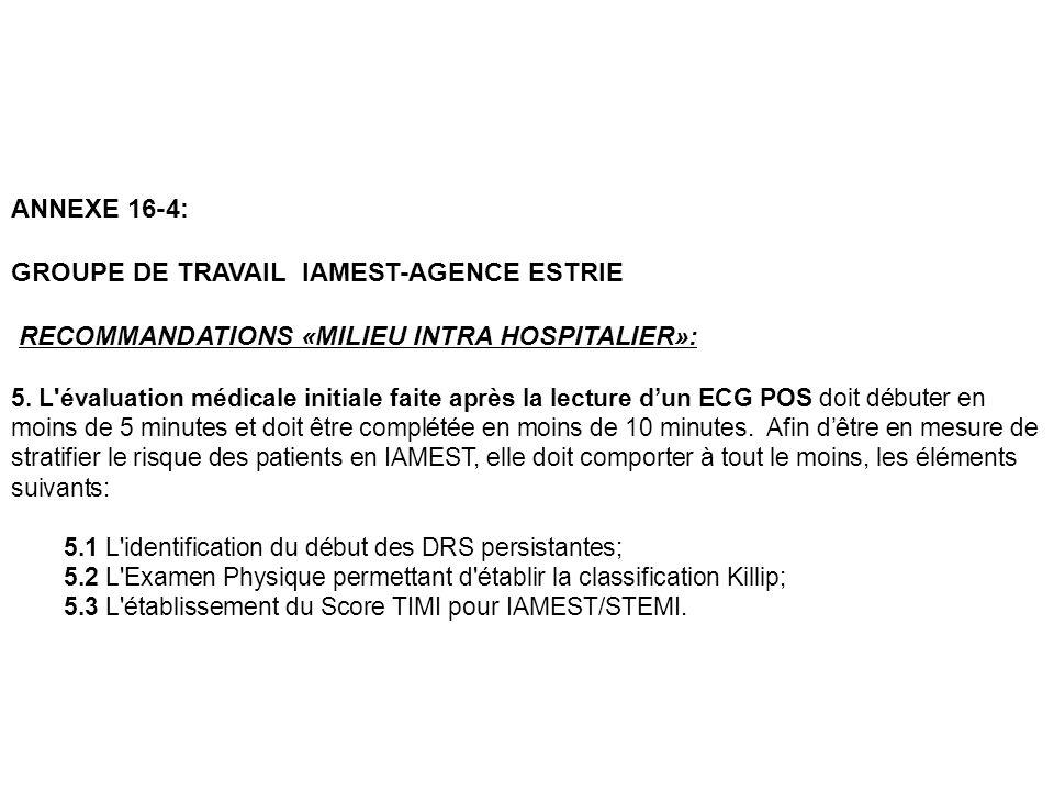 ANNEXE 16-4: GROUPE DE TRAVAIL IAMEST-AGENCE ESTRIE RECOMMANDATIONS «MILIEU INTRA HOSPITALIER»: 5. L'évaluation médicale initiale faite après la lectu