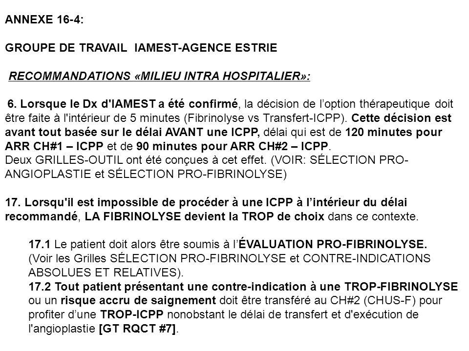 ANNEXE 16-4: GROUPE DE TRAVAIL IAMEST-AGENCE ESTRIE RECOMMANDATIONS «MILIEU INTRA HOSPITALIER»: 6. Lorsque le Dx d'IAMEST a été confirmé, la décision