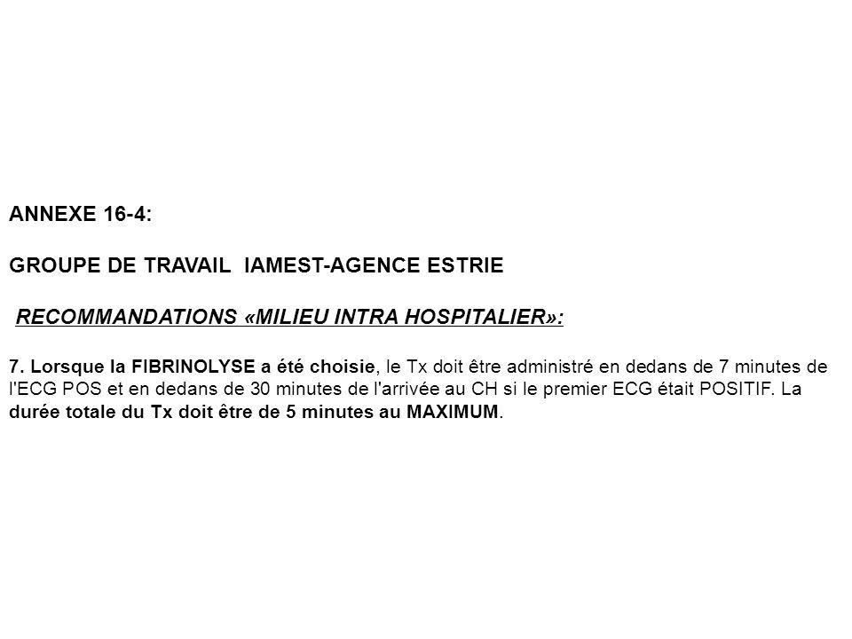 ANNEXE 16-4: GROUPE DE TRAVAIL IAMEST-AGENCE ESTRIE RECOMMANDATIONS «MILIEU INTRA HOSPITALIER»: 7. Lorsque la FIBRINOLYSE a été choisie, le Tx doit êt