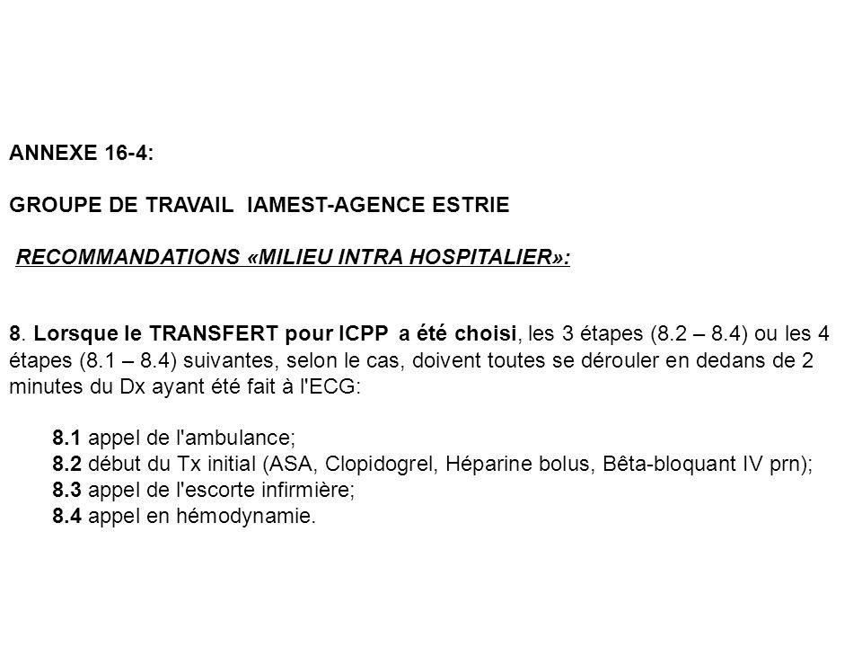 ANNEXE 16-4: GROUPE DE TRAVAIL IAMEST-AGENCE ESTRIE RECOMMANDATIONS «MILIEU INTRA HOSPITALIER»: 8. Lorsque le TRANSFERT pour ICPP a été choisi, les 3