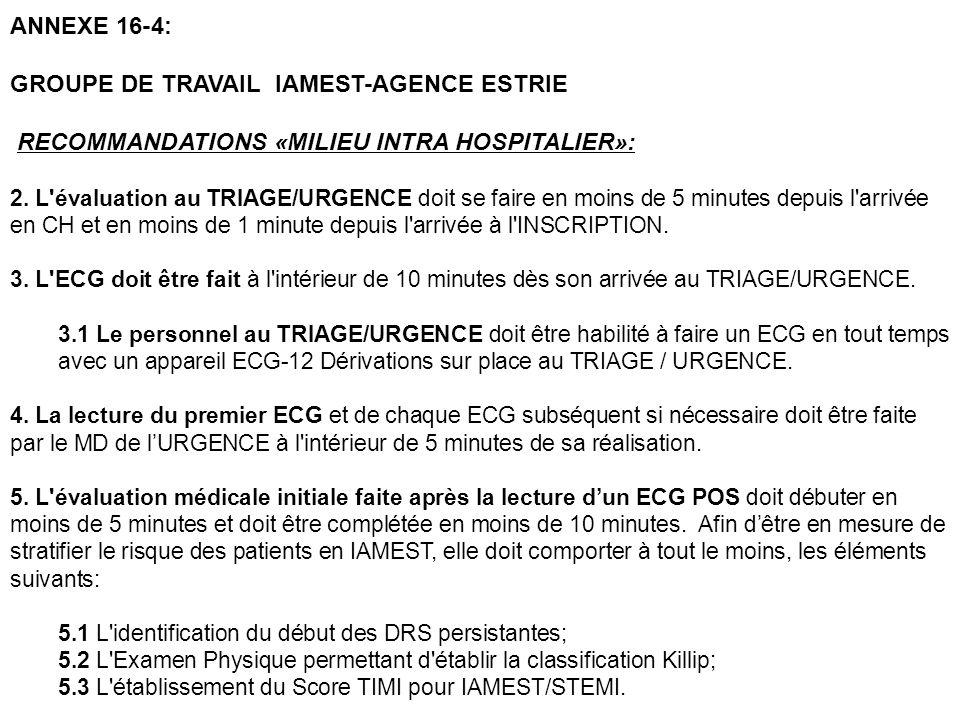 ANNEXE 16-4: GROUPE DE TRAVAIL IAMEST-AGENCE ESTRIE RECOMMANDATIONS «MILIEU INTRA HOSPITALIER»: 2. L'évaluation au TRIAGE/URGENCE doit se faire en moi