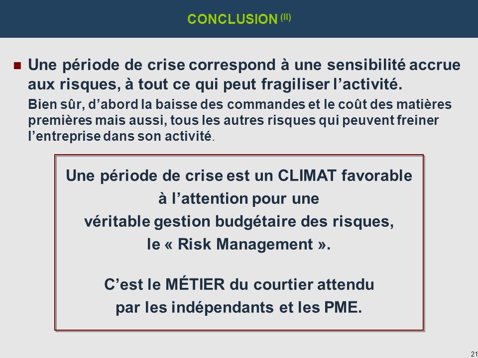 21 CONCLUSION (II) n Une période de crise correspond à une sensibilité accrue aux risques, à tout ce qui peut fragiliser lactivité.