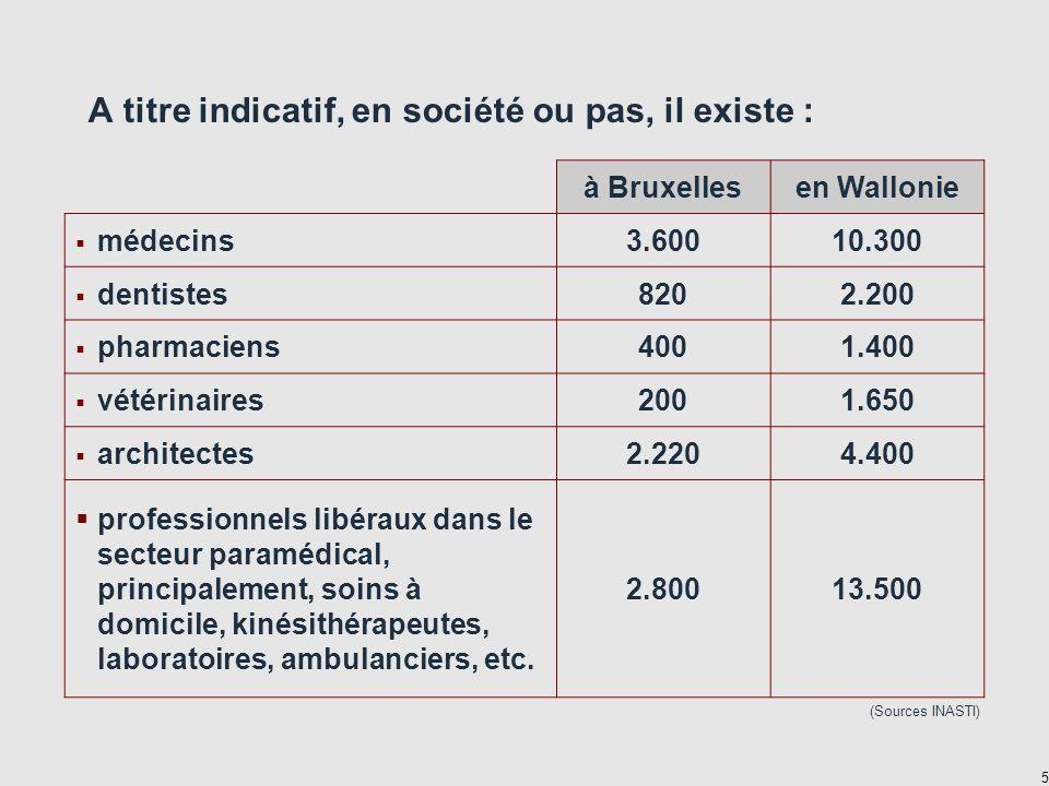 5 A titre indicatif, en société ou pas, il existe : à Bruxellesen Wallonie médecins3.60010.300 dentistes8202.200 pharmaciens4001.400 vétérinaires2001.650 architectes2.2204.400 professionnels libéraux dans le secteur paramédical, principalement, soins à domicile, kinésithérapeutes, laboratoires, ambulanciers, etc.