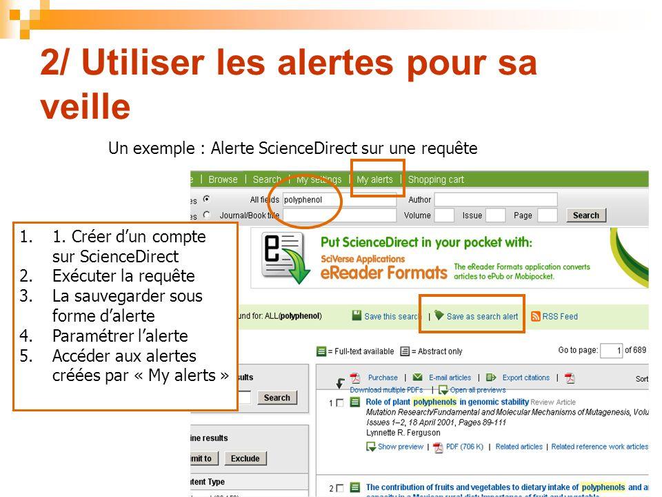 2/ Utiliser les alertes pour sa veille Un exemple : Alerte ScienceDirect sur une requête 11.1. Créer dun compte sur ScienceDirect 2.Exécuter la requêt