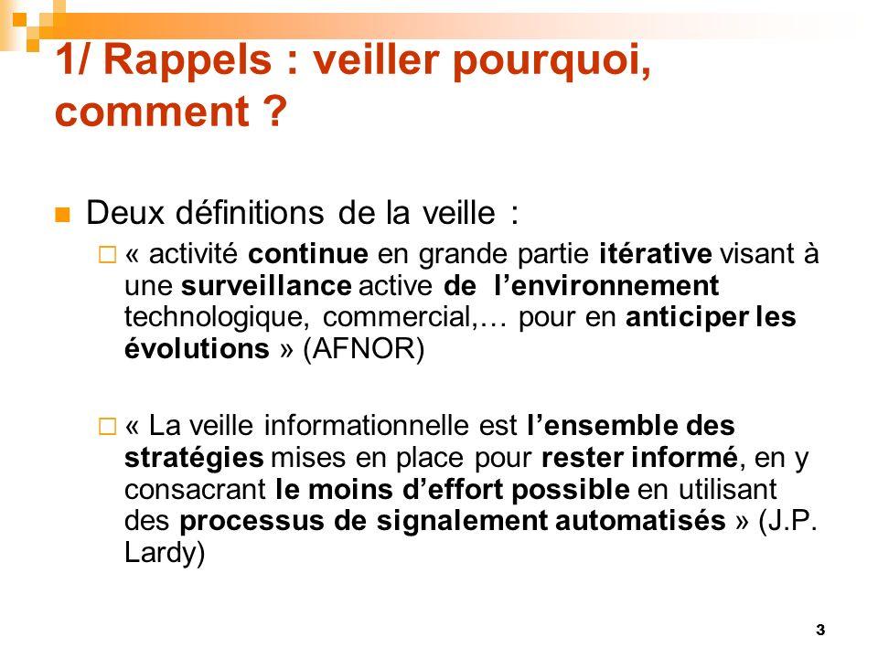 1/ Rappels : veiller pourquoi, comment ? Deux définitions de la veille : « activité continue en grande partie itérative visant à une surveillance acti