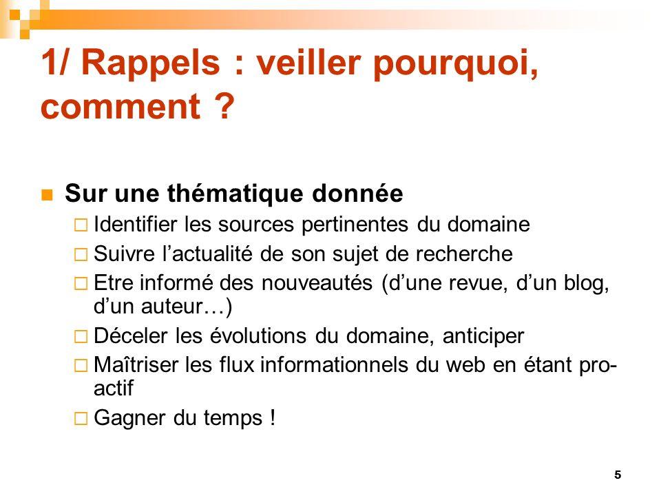 1/ Rappels : veiller pourquoi, comment ? Sur une thématique donnée Identifier les sources pertinentes du domaine Suivre lactualité de son sujet de rec