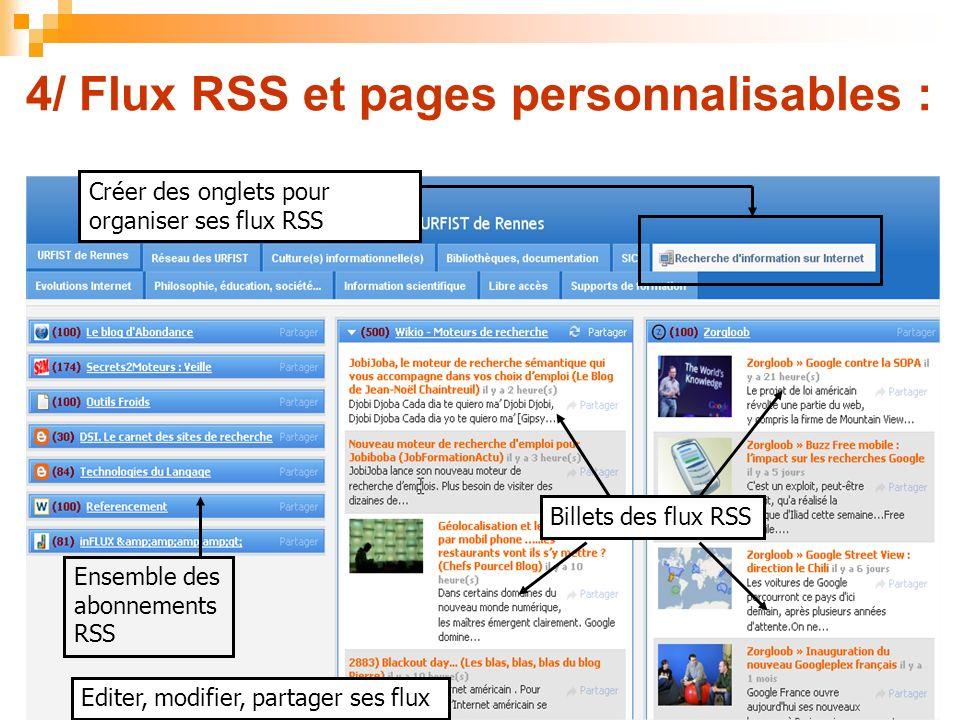 4/ Flux RSS et pages personnalisables : Ensemble des abonnements RSS Billets des flux RSS Créer des onglets pour organiser ses flux RSS Editer, modifi