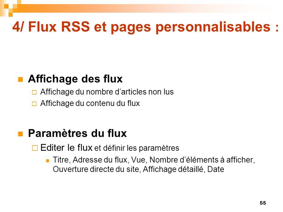4/ Flux RSS et pages personnalisables : Affichage des flux Affichage du nombre darticles non lus Affichage du contenu du flux Paramètres du flux Edite