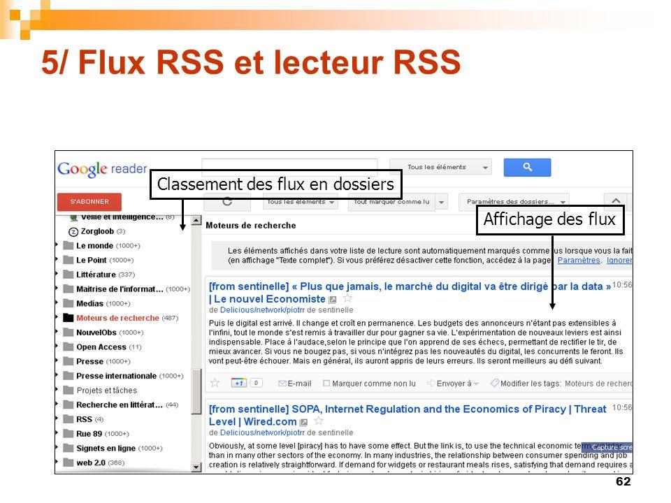 5/ Flux RSS et lecteur RSS Classement des flux en dossiers Affichage des flux 62