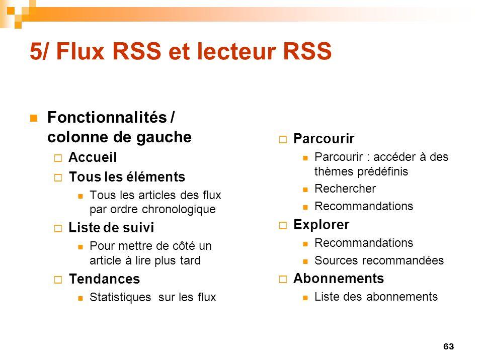 5/ Flux RSS et lecteur RSS Fonctionnalités / colonne de gauche Accueil Tous les éléments Tous les articles des flux par ordre chronologique Liste de s