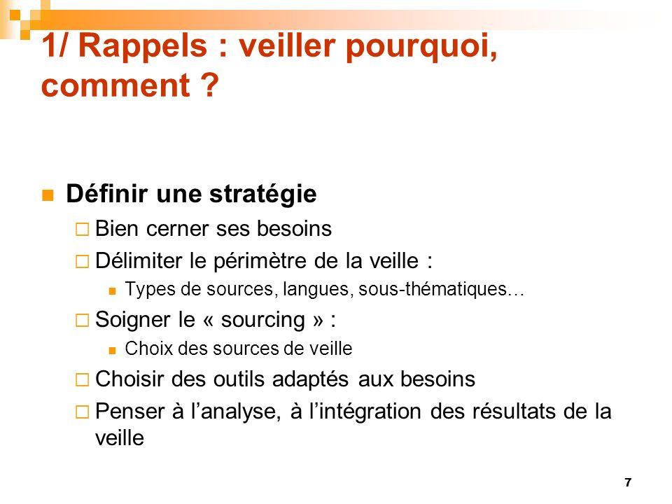 1/ Rappels : veiller pourquoi, comment ? Définir une stratégie Bien cerner ses besoins Délimiter le périmètre de la veille : Types de sources, langues