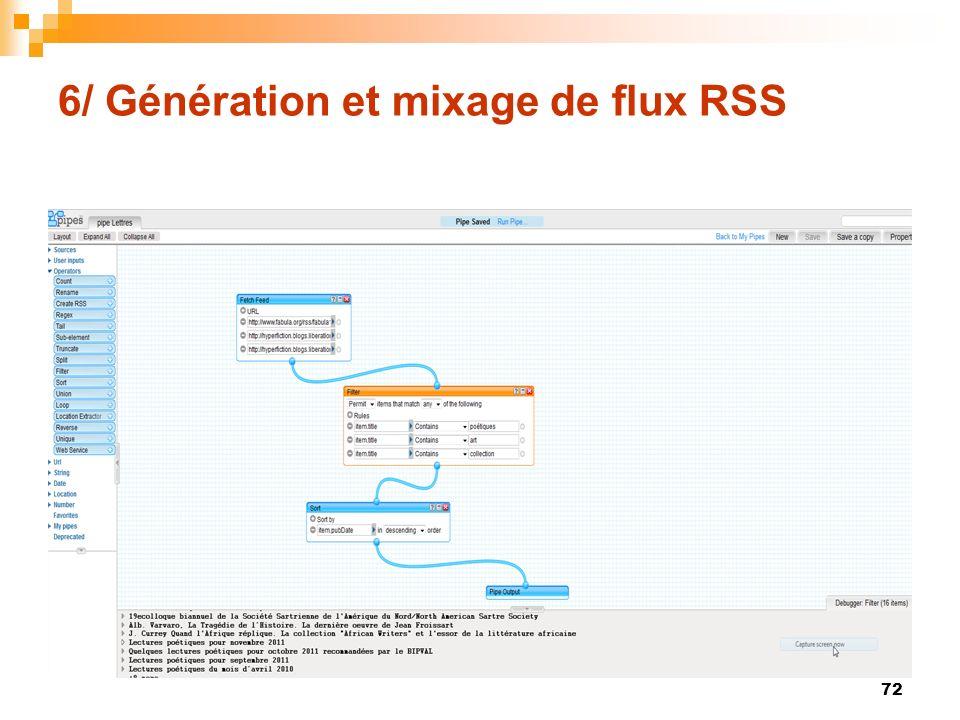 6/ Génération et mixage de flux RSS 72