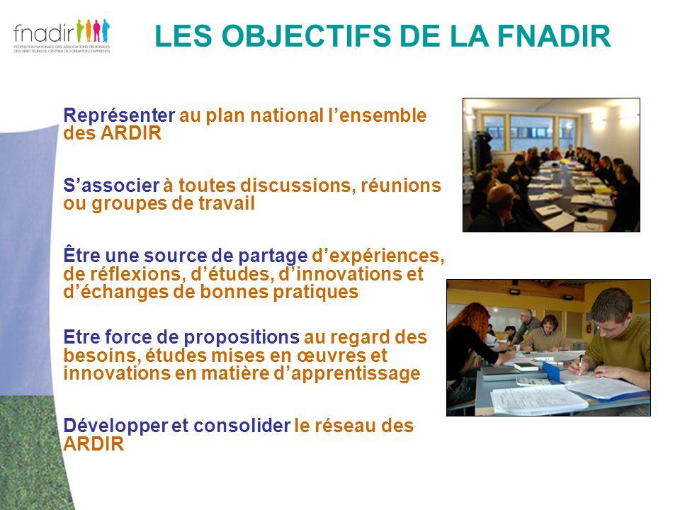 LES OBJECTIFS DE LA FNADIR Représenter au plan national lensemble des ARDIR Sassocier à toutes discussions, réunions ou groupes de travail Être une so