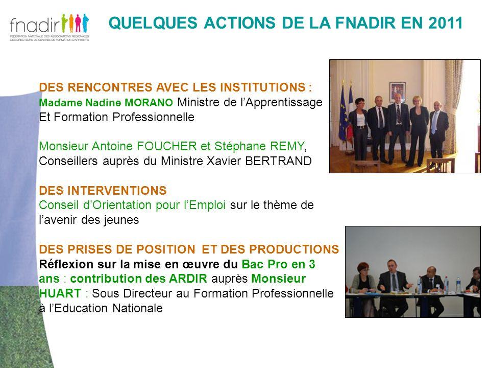 QUELQUES ACTIONS DE LA FNADIR EN 2011 DES RENCONTRES AVEC LES INSTITUTIONS : Madame Nadine MORANO Ministre de lApprentissage Et Formation Professionne