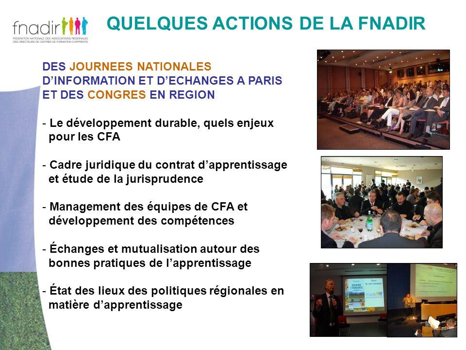 QUELQUES ACTIONS DE LA FNADIR DES JOURNEES NATIONALES DINFORMATION ET DECHANGES A PARIS ET DES CONGRES EN REGION - Le développement durable, quels enj