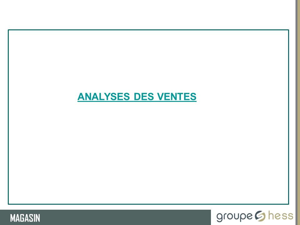 RESSOURCES HUMAINES MAGASIN ANALYSES DES VENTES