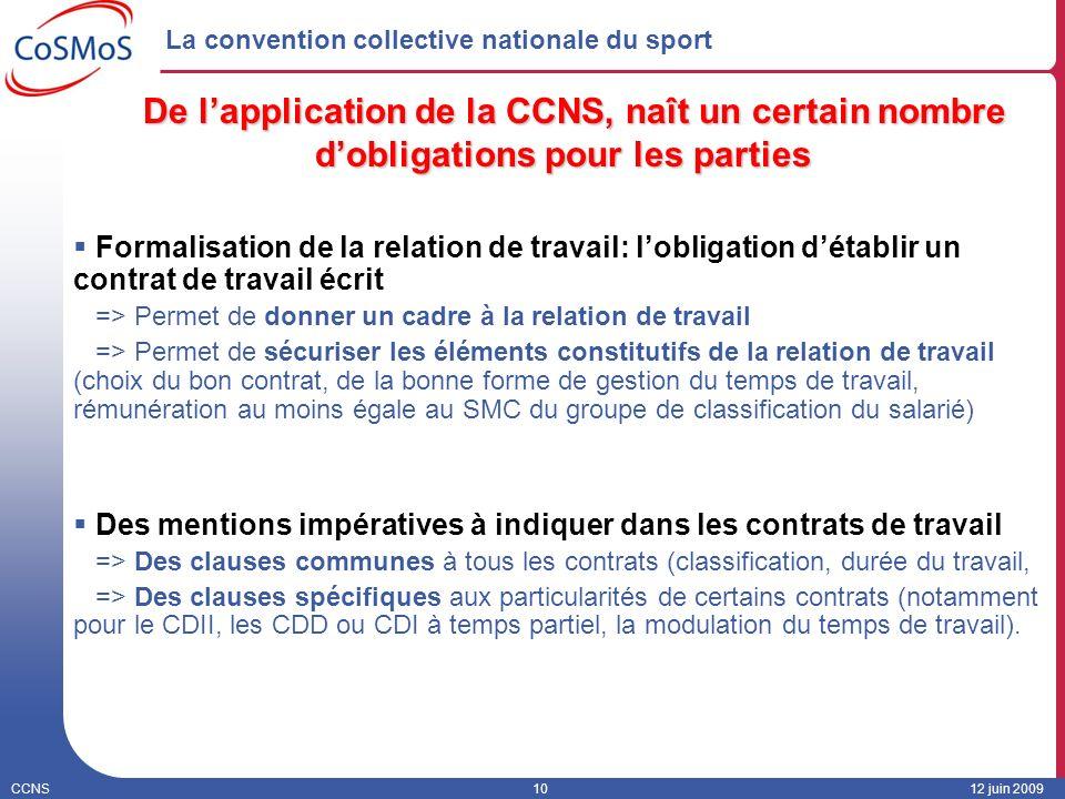 CCNS1012 juin 2009 La convention collective nationale du sport De lapplication de la CCNS, naît un certain nombre dobligations pour les parties Formal