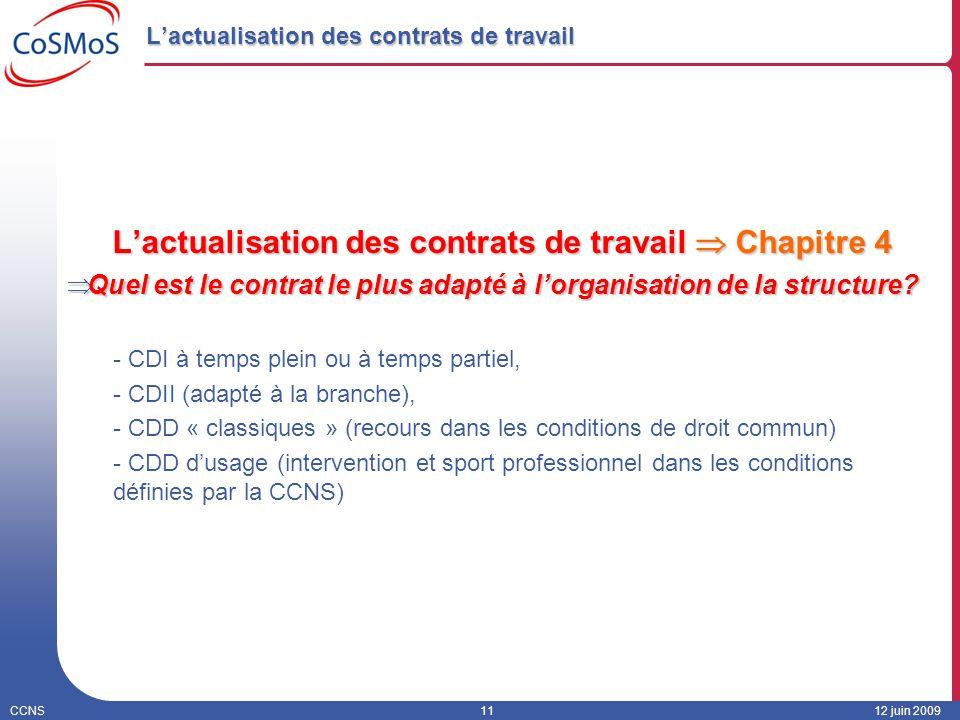 CCNS1112 juin 2009 Lactualisation des contrats de travail Lactualisation des contrats de travail Chapitre 4 Quel est le contrat le plus adapté à lorga