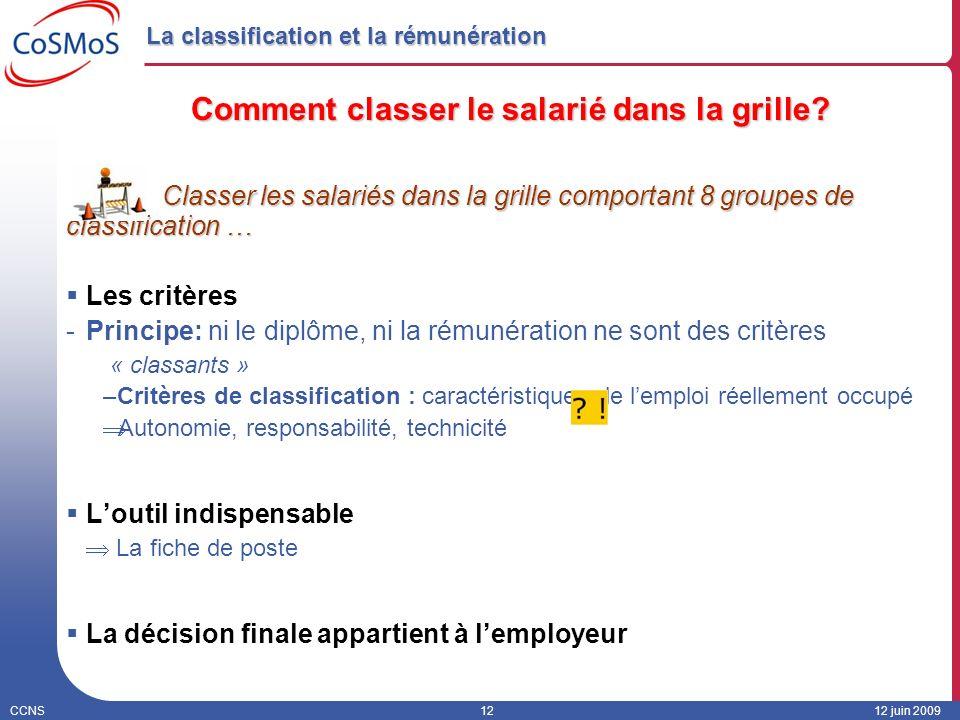 CCNS1212 juin 2009 La classification et la rémunération Comment classer le salarié dans la grille? Classer les salariés dans la grille comportant 8 gr