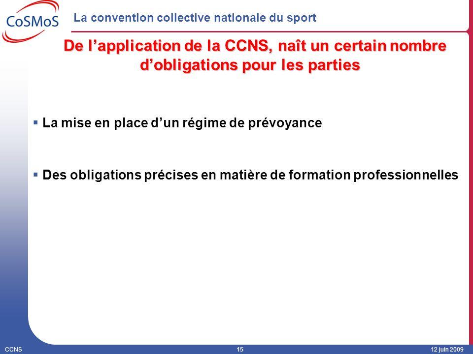 CCNS1512 juin 2009 La convention collective nationale du sport De lapplication de la CCNS, naît un certain nombre dobligations pour les parties La mis