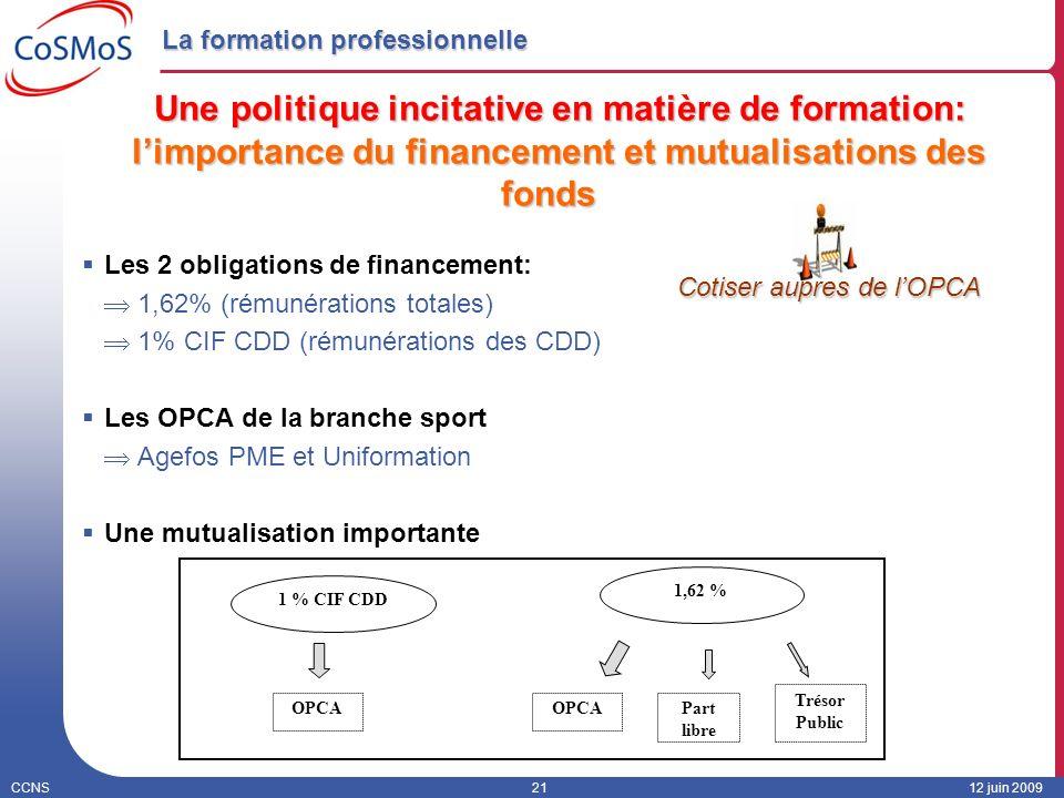 CCNS2112 juin 2009 La formation professionnelle Une politique incitative en matière de formation: limportance du financement et mutualisations des fon