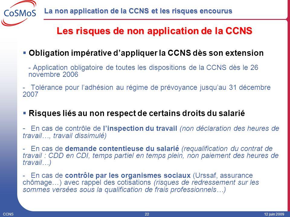 CCNS2212 juin 2009 La non application de la CCNS et les risques encourus Les risques de non application de la CCNS Obligation impérative dappliquer la