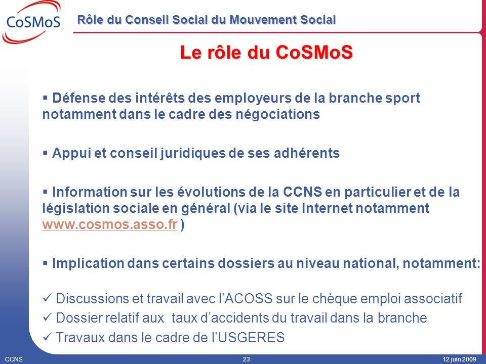 CCNS2312 juin 2009 Rôle du Conseil Social du Mouvement Social Le rôle du CoSMoS Défense des intérêts des employeurs de la branche sport notamment dans