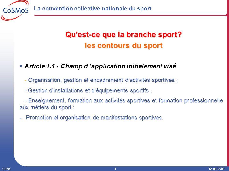 CCNS412 juin 2009 La convention collective nationale du sport Quest-ce que la branche sport? les contours du sport Article 1.1 - Champ d application i