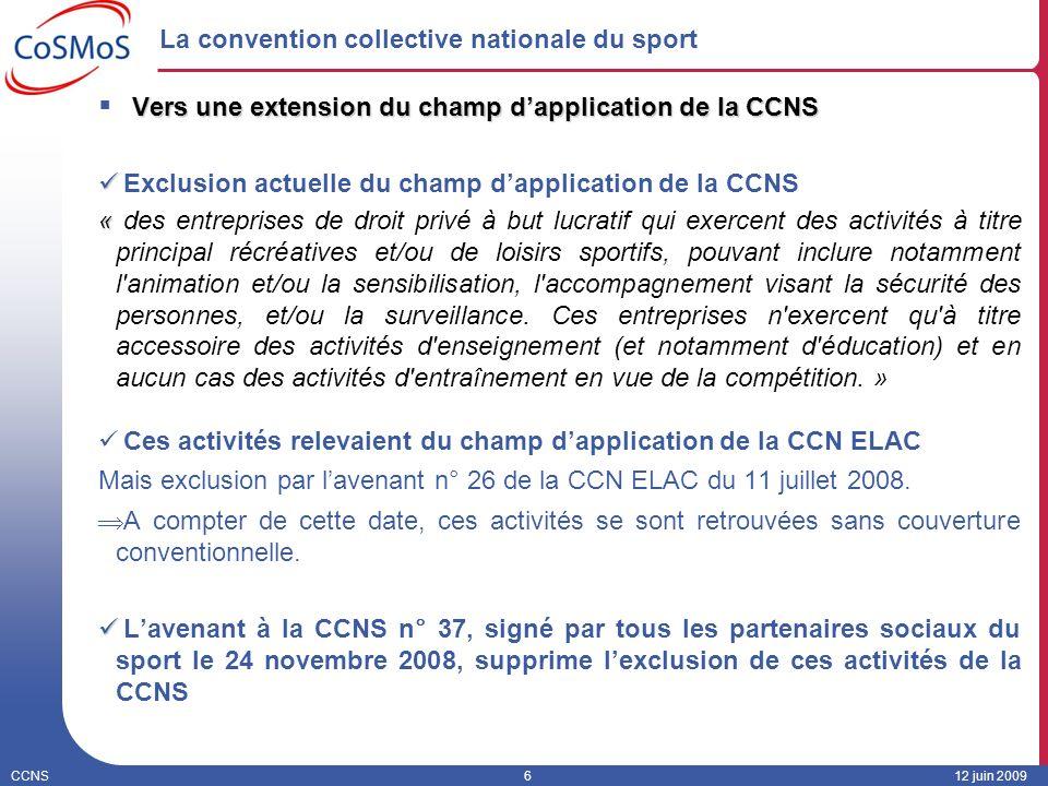 CCNS612 juin 2009 La convention collective nationale du sport Vers une extension du champ dapplication de la CCNS Exclusion actuelle du champ dapplica